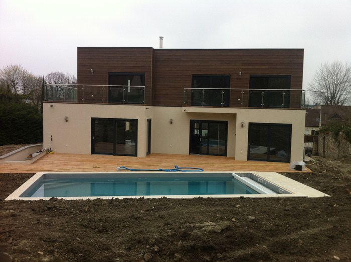 Maison ossature bois contemporaine lagny sur marne for Modele maison bois contemporaine